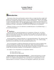 6 Hypothesis Testing