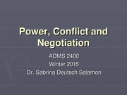 Power, Conflict and Negotiation - Lecture and Notes