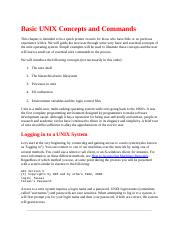 Basic UNIX Concepts and Commands