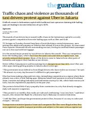 Traffic chaos and violence as thousands of taxi drivers protest against Uber in Jakarta | World news