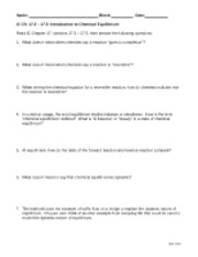 Worksheet~ Intro to Equilibrium and Keq 2011-2012