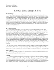 Lab 2, Earth Energy & You rev 2012a