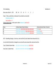 Unit 6 Worksheet - IP Subnetting Class C subnets