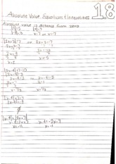 College Math 1.8 Absoulte Valure and Equations Nots