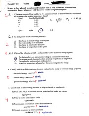 Chemistry Energy and Pressure Exam