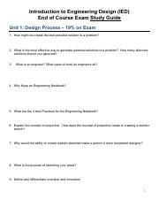 Ied Full Study Guide Review 2018 Pdf Introduction To Engineering Design Ied End Of Course Exam Study Guide Unit 1 Design Process 19 On Exam 1 How Course Hero