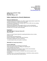 resume of network administrator