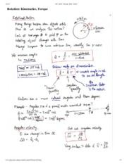 Rotation- Kinematics and Torque Notes