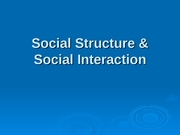 Social Structure  Social Interaction