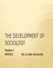 Lecture 2 Schaefer Development of Sociology