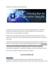Introduction to Information Technology Security-unit 5