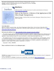 Application of OR and MS in Freight Transportation