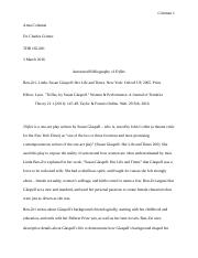 Annotated Bibliography for Trifles by Susan Glaspell.docx
