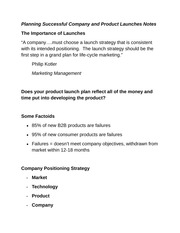 Planning Successful Company and Product Launches Notes