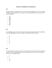Probability and Combinations - Que