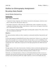 Ethnography Assignment Outline Notes pdf - Justin Ng The