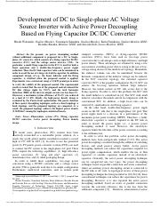 Development of DC to Single-phase AC Voltage Source Inverter with Active Power Decoupling Based on F