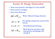 Lecture 11 on Energy Conservation