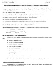 History of Pharmacy - Class Outline - April 25, 2011