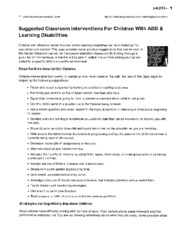 H20 - Suggested Classroom Interventions for Children with ADD & Learning Disabilities