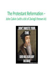The Protestant Reformation – John Calvin
