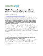 AICPA Opposes Congressional Effort to Limit Use of Cash Method of Accounting