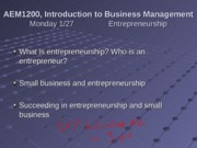 1-27 Entrepreneurship and Forms of Business Ownership
