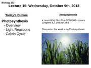 Lecture 15: Photosynthesis