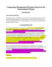 Comparing Management Decisions Based on the International Market.docx