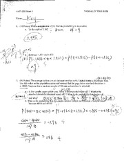 Stats 250 Exam 2 Key- Sample Mean, Confidence Interval, Hypothesis Testing