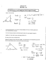 Math 2201 Sine Law Notes