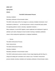 HRSC 3477 Notes on The EEOC Enforcement Process
