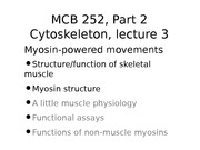 MCB 252 Myosin Powered Movements Lecture