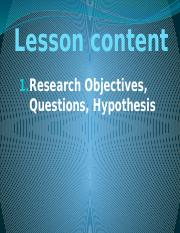 Part 2 Chapter 9 Objectives, Questions, Hypothesis.pptx