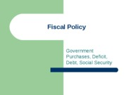 Topic 10 - Fiscal Policy
