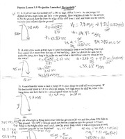 Projectile Motion Test Answers