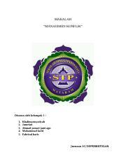 Makalah Manajemen Konflik 1 Docx Makalah U201cmanajemen Konflik U201d Disusun Oleh Kelompok 1 1 2 3 4 5 Khalimatusyadyah Jumriati Ahmad Jamari Jami Agu Course Hero