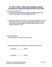 Introduction to Commercial Property Markets