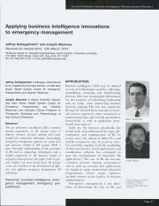 Applying business intelligence innovations to emergency management