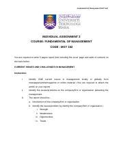 Mgt 162 Fundamental Of Management Universiti Teknologi Mara