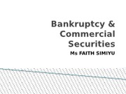 Bankruptcy Lecture 1