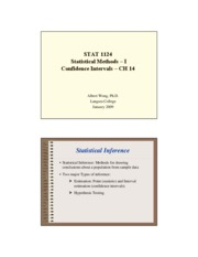 Stat 1124 - Confidence Intervals