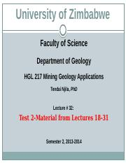 HGL 217 Mining Geology Applications Lectures 32