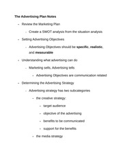 The Advertising Plan Notes