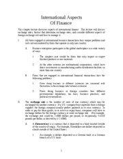 International Aspects of Finance