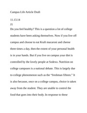 Journalism 1- Campus Life Article Draft 3