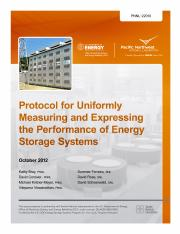 [PNNL-22010] Protocol for Uniformly Measuring and Expressing the Performance of Energy Storage Syste