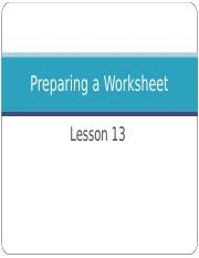 Lesson 12.Using a Worksheet.ppt