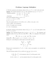 Lagrange Multipliers problems study guide