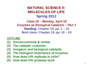MOL CLASS 20 - Enzymes as Biological Catalysts (Part 1) (class notes S11)